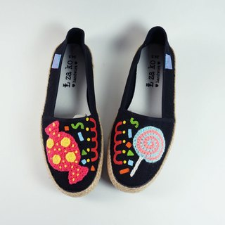 Black cotton canvas hand shoes candy section weaving paragraph