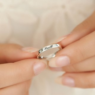 Custom Rings Engraving Silver Rings 4mm Plate Lettering English Text Names Silver Rings -ART64