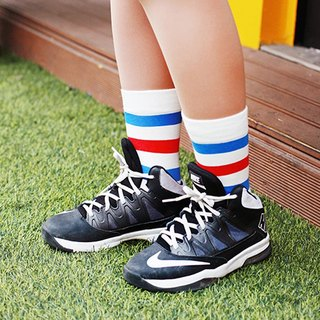 Organic Cotton Socks - Striped Series Clematis White Red and Blue Striped Mid-Socks (Men/Female)