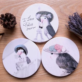 Bad temper parrot series - expensive ceramic coaster set (three into)