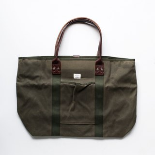 Billykirk Large Tote Bag olive green waxed canvas