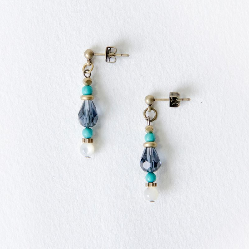 Simple Linear Earrings / Blue Green - Turquoise Brass White Butterfly Shell Natural Stone Earrings