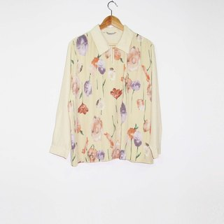 Wahr_ yellow flower pleated shirt