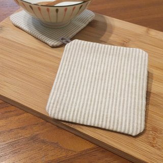 :: Lane68 :: hand-made coasters - simple ruled / beige (set of two)