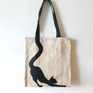 Animal Tote Bag: Stretching Cat