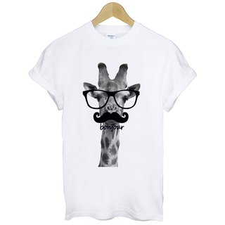 Giraffe-bonjour T-shirt -2 color giraffe Hello France green paper glasses beard animal art design fashion fashionable word