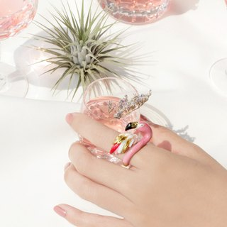 Flamingo Ring, Handmade high-quality enamel jewellery.
