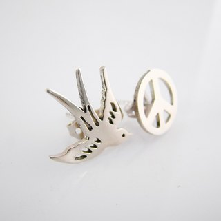 Swallow and Peace sign studs earrings in white bronze handmade by hand sawing