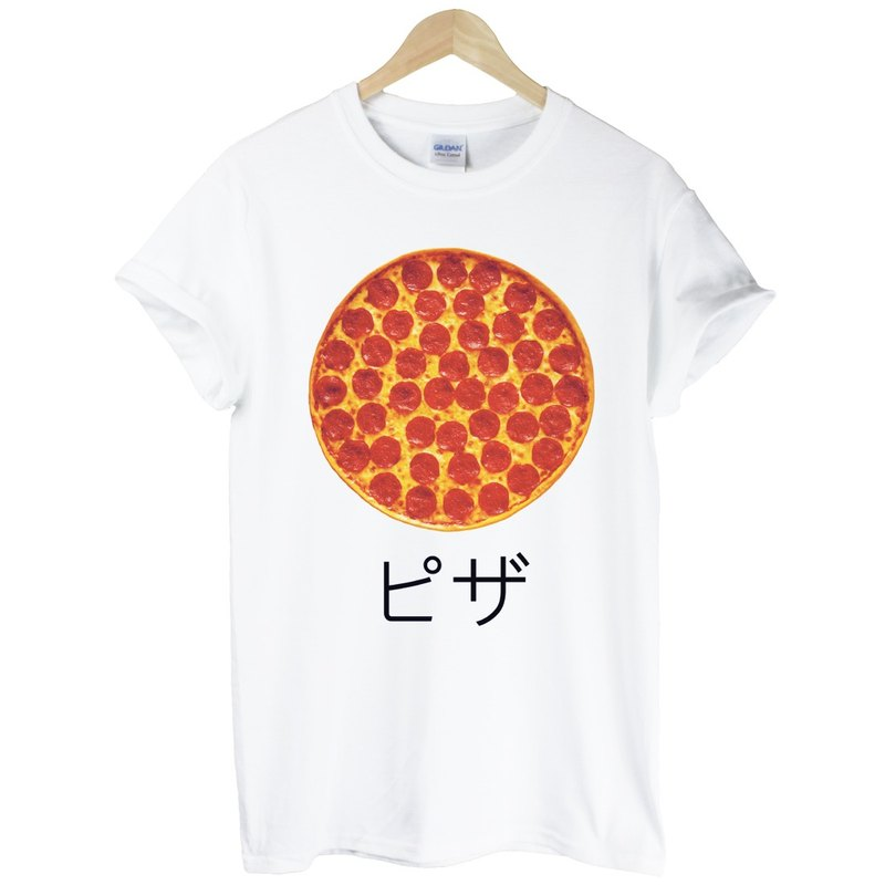 Japanese-Pizza T-shirt - white pizza Japanese Japanese Wen Qing fresh food PIZZA design own brand