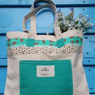 Scandinavian particular green lake, the size of the floral pattern bag / handbag / shoulder bag / cotton canvas / handmade