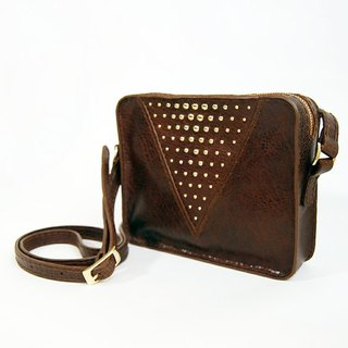 Cross body brown/studs leather bag
