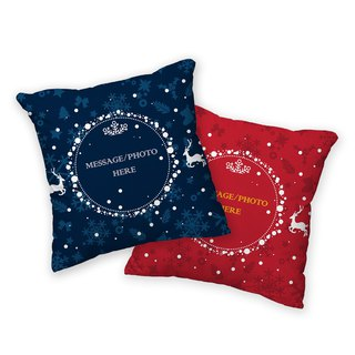 Christmas pillow - snowy night reindeer (blue) AH1-XMAS5