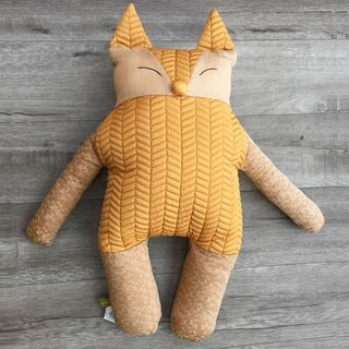 [KAKIBABY] patent natural persimmon dyed cloth - smile fox hug pillow