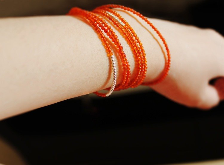 ☆, .- * '108 perles orange Jing / orange agate silver bracelet seven times subsection