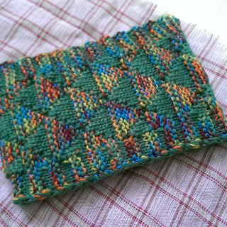 Lan hand-made knit headband triangle weave (yarn flower colorful flowers and green)