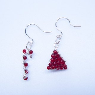Metal - Hand Xmas Shape Earrings - Bright Silver (Handmade. Czech Glass. Gifts. Ornaments. American Import. Ear clip. Gift Box.