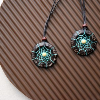 Dream Catcher // Couple Necklaces // Wood // Sea Green