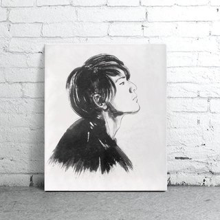 custom portraits - Chinese ink painting - independent thinking-Easy Gallery Wrap