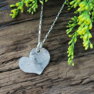 ReShi / fingerprint love heart fall / fall / 925 sterling silver / fingerprint silver / custom handmade / Valentine's family gifts