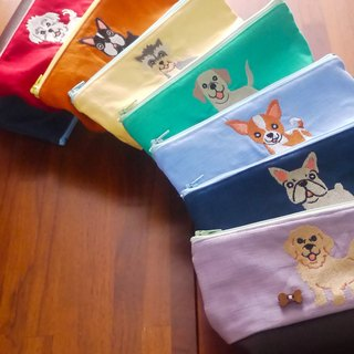 Hairy Children's Dog Embroidery Cosmetic Bags Dog Illustrations Optional Embroidery English Name Remarks