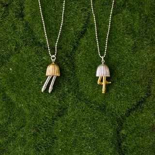 Sterling silver with 18K gold plated mushroom necklace