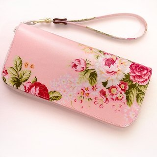 Tangerine pink flower imagination. Waterproof long clip / wallet / purse / purse