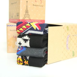 Exchanging gifts Gift MIT smile mark combed cotton socks gift (a set of four pairs of ankle socks) (box style random shipments)