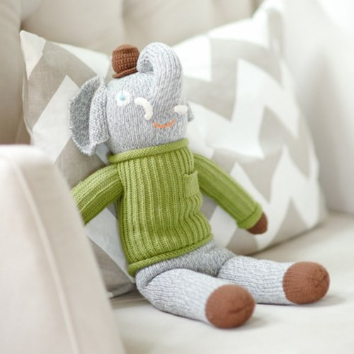 US Blabla Kids | cotton knitted doll (small only) - happy green sweater gray elephant B21052370