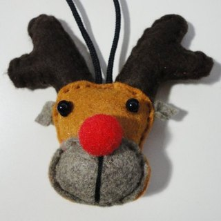NiCorn hand-made - a red nose and elk Jun Charm [stock] - yellowish brown coffee face + dark coffee corner