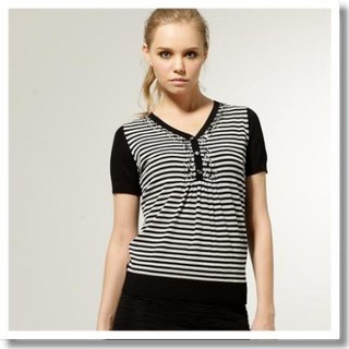 [KIINO] dazzling gem classic striped knit cardigan half of a single product - Black * White
