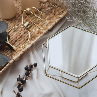 Experimental Project / Zero One / geometric lines - Diamond table mirror mirror Taiwan - Plating gold