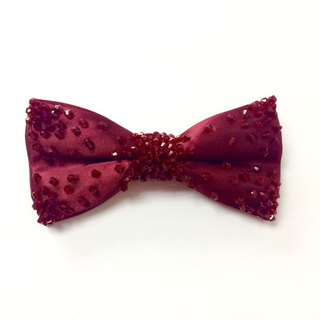 Crystal wine red bow tie