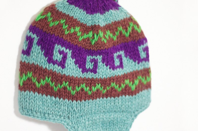 Valentine's Day gift of pure hand-woven wool hat / flight caps / knitting caps / wool cap - psychedelic violet Totem (a handmade limited edition)
