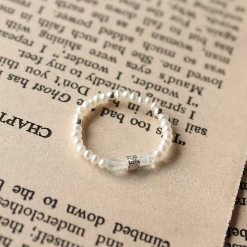 Journal (letter B - Bowknot meticulous soft ring) - Silver hand made, fresh water pearls, aquamarine