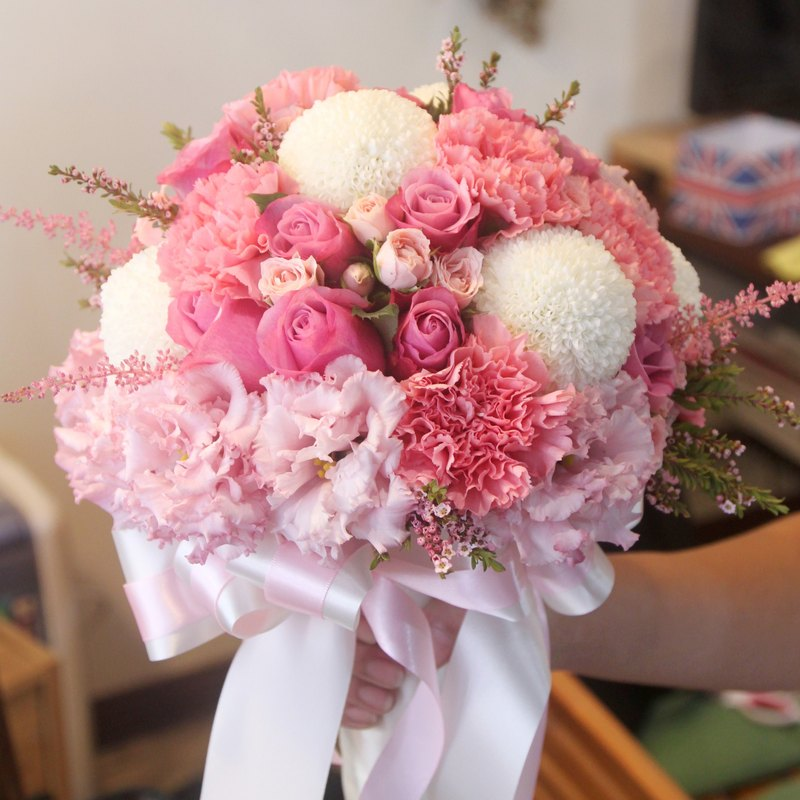 Blooming flowers - natural white and pink bridal bouquets custom wedding bouquets European flowers bouquets