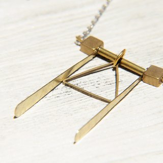 / Simple sense / French design short-long chain brass necklace - geometric shapes triangle