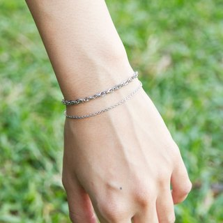 Futakoi double-stranded / allergic stainless steel bracelet