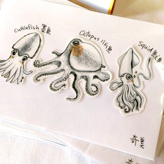 Octopus, squid, cuttlefish marine wind waterproof stickers