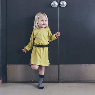 [Nordic children's clothing] Iceland organic cotton long-sleeved dress mustard yellow