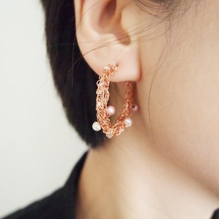 EC040 custom hand braided copper wire with artificial glass rose gold circle earrings pearl