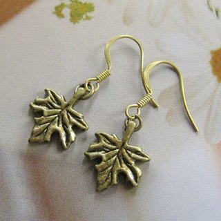 Green bronze maple leaf earrings