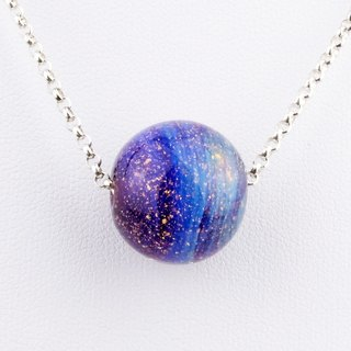 Starry Night Ball Handmade Lampwork Glass Sterling Silver Necklace