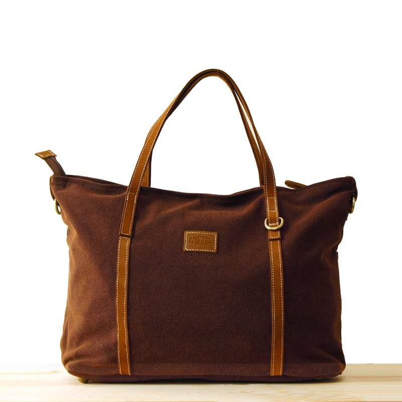 a78374e054  Happa  generous canvas tote bag - stone-washed canvas classic (Valentine s  Day Gifts) (Brown earth Brown) - Designer happa-tw
