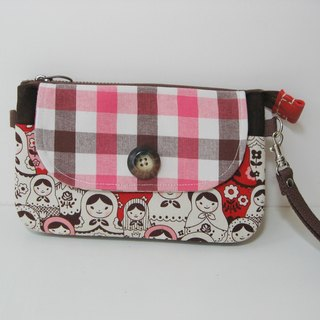 Double zipper bag / Clutch bag / Messenger bag / Phone bag-Russian doll (red pink)