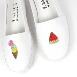 White cotton canvas hand-made shoes summer cool watermelon ice cream - non-woven models