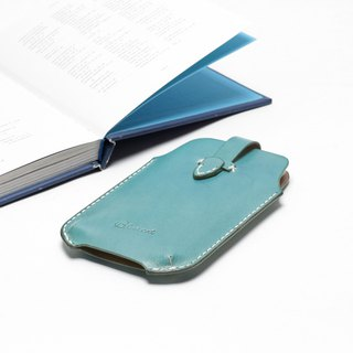 Rustic marine blue hand dyed yak leather handmade iPhone case / mobile phone case / card holder