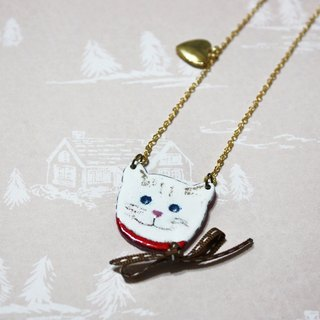 Enamel Bow Meow long chain