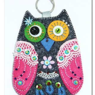 Owl Card Case - gray pink