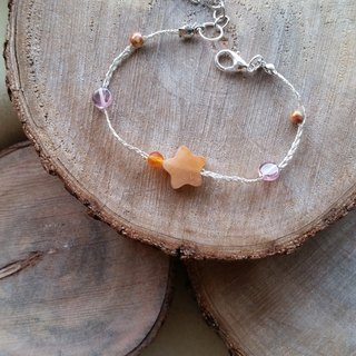 Knit with love Ying agate silver stars with orange agate bracelet hand-knitted ♡