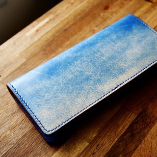 Handmade handmade pot blue sky Skyline hand-dyed vegetable tanned leather wallet female models long cowhide leather wallet